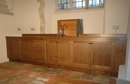 Church kitchen, quarter-sawn oak