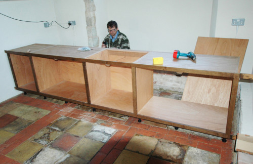 Church kitchen, quarter-sawn oak, construction