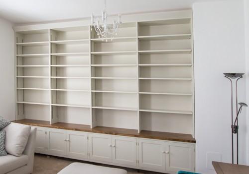 Bespoke built-in bookcase / shelves with drawers under