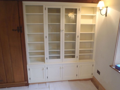 White painted glazed bookcase